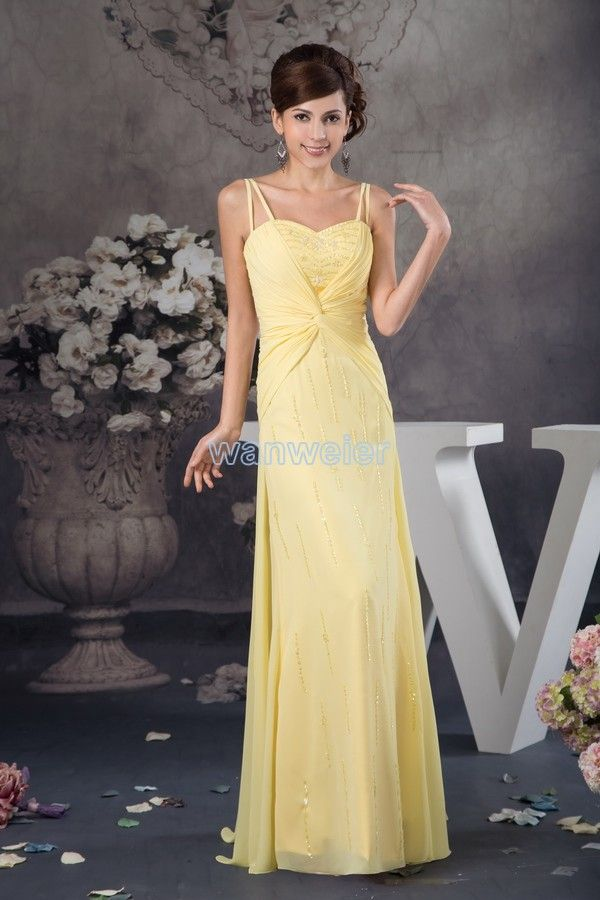 Special Occasion Dresses | Evening Dresses | Floor Length Sling Plus Size Yellow Sweetheart Chiffon Evening Dress With Beading And Shirring