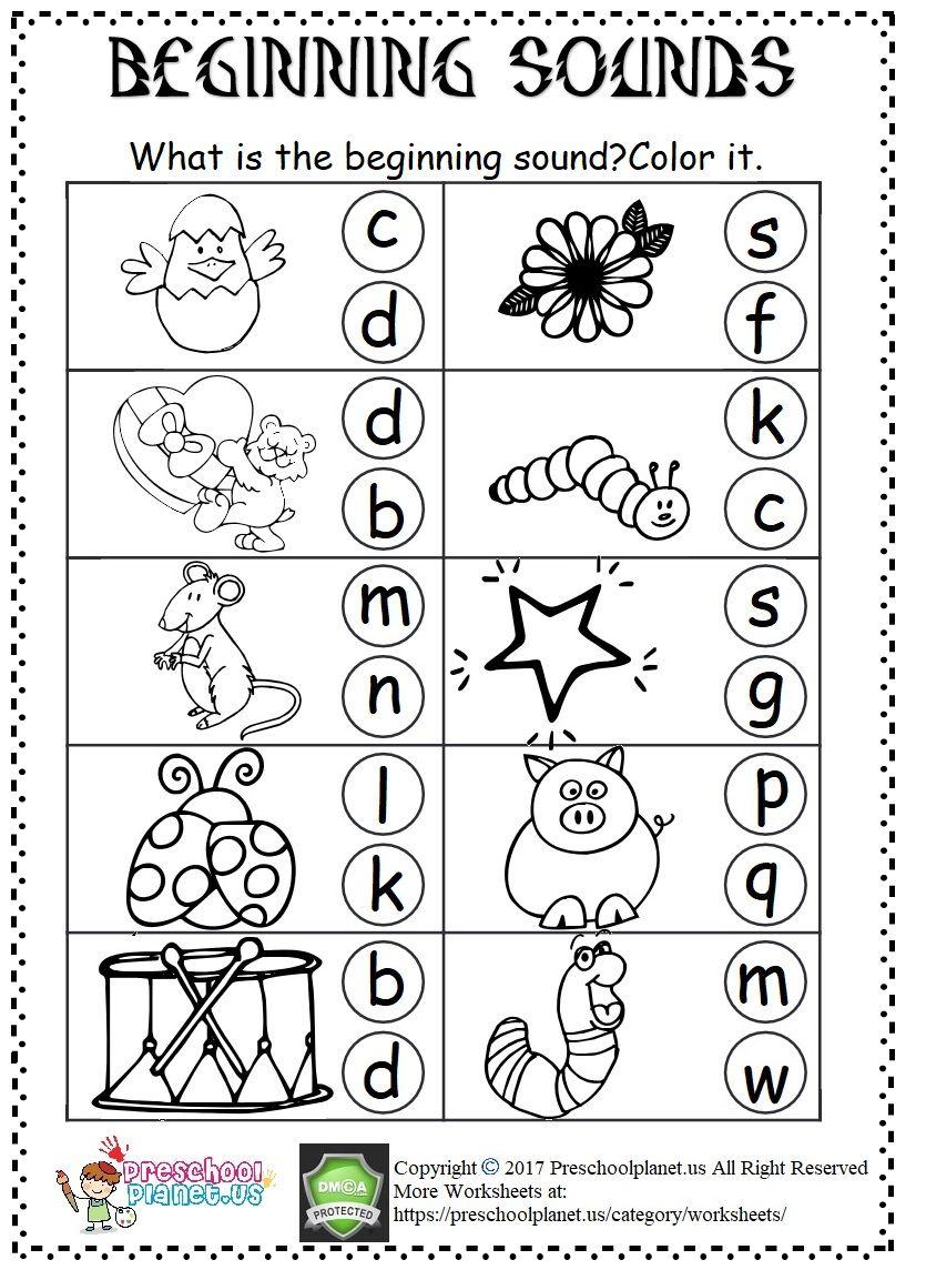 Beginning Sound Worksheet Beginning Sounds Worksheets Kindergarten Worksheets Printable Free Kindergarten Worksheets