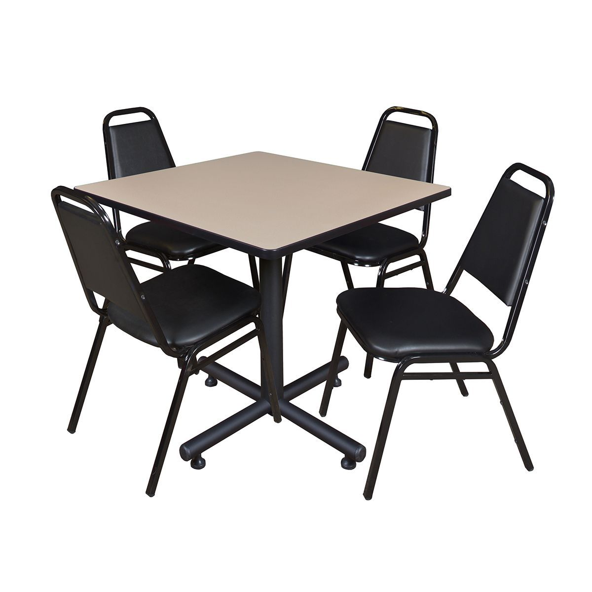 Regency Seating Kobe 42-inch Square Breakroom Table and 4 Black Restaurant Stack Chairs