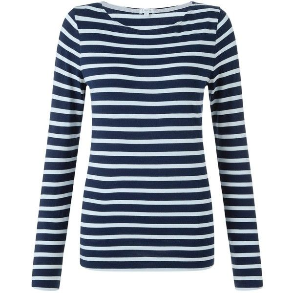 Jigsaw Retro Jersey Stripe T-Shirt, Pale Blue ($45) ❤ liked on Polyvore featuring tops, t-shirts, retro tees, striped t shirt, blue t shirt, long sleeve tee and long sleeve t shirts