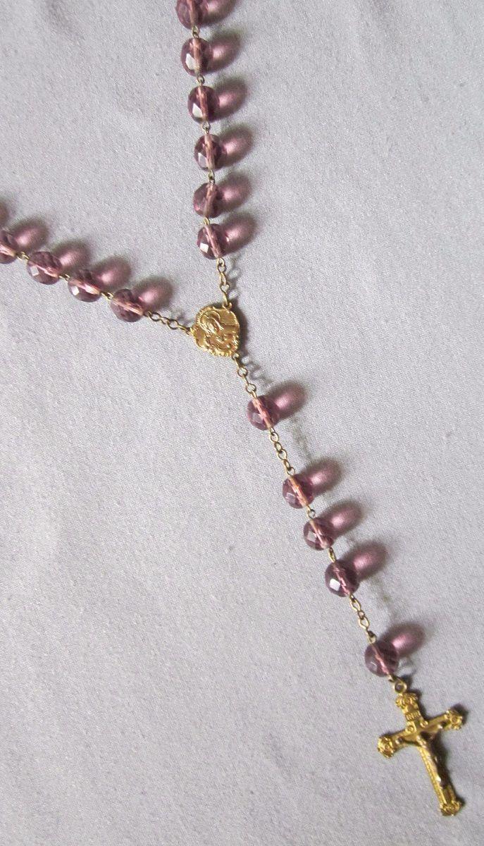 706af3f68063 Antiguo Rosario De Cristal Checo Violeta -   4.000