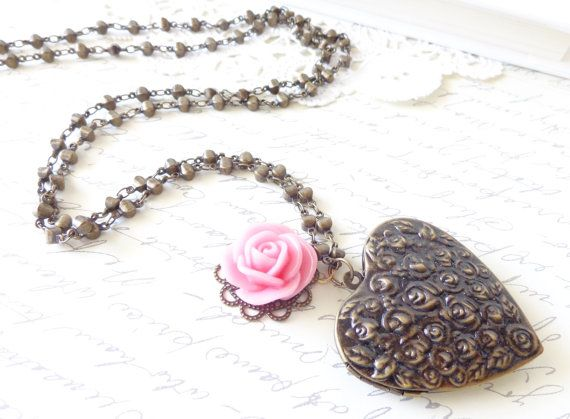 Large Heart Shaped  Flower Locket  Pink Flower  by NestingPretty