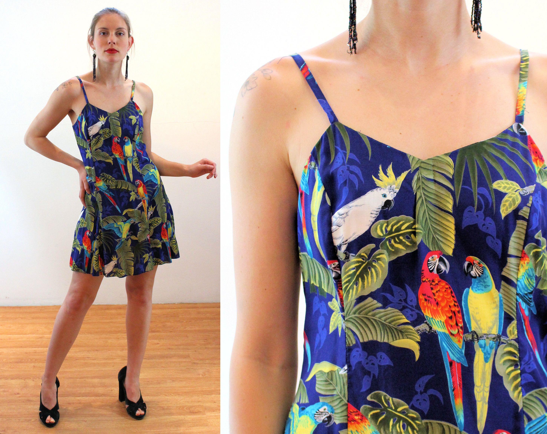 80s Hawaiian Mini Dress S Parrots Cockatiel Bird Print Etsy In 2020 Vintage Party Dresses Vintage Outfits Clothes