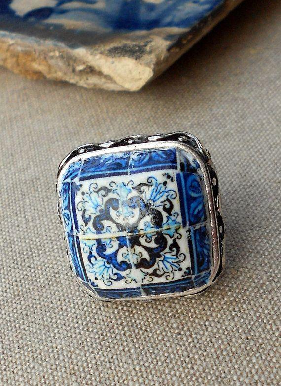 f232c7d0124b Portugal Antique Azulejo Tile Replica RING - Blue - Aveiro STRETCHY ...