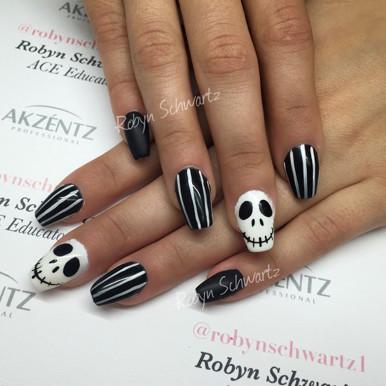 Halloween nails, Jack style! Gel nails, coffin nails