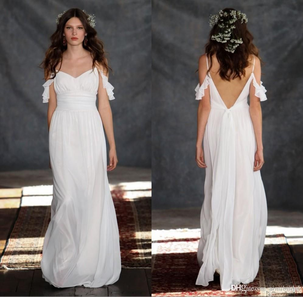 Sexy vintage bohemian wedding dresses v shape open back bridal