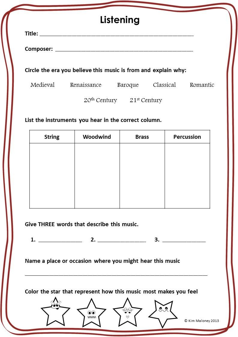 Music Listening Worksheets Music Classroom Worksheets