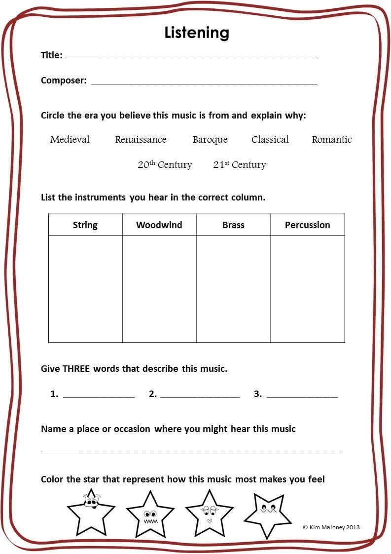 Worksheets Music Appreciation Worksheets music appreciation listening worksheets classroom worksheets
