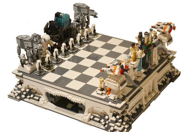Hercules Theme Chess Set in Nickel and Brass - Brown Board by ...