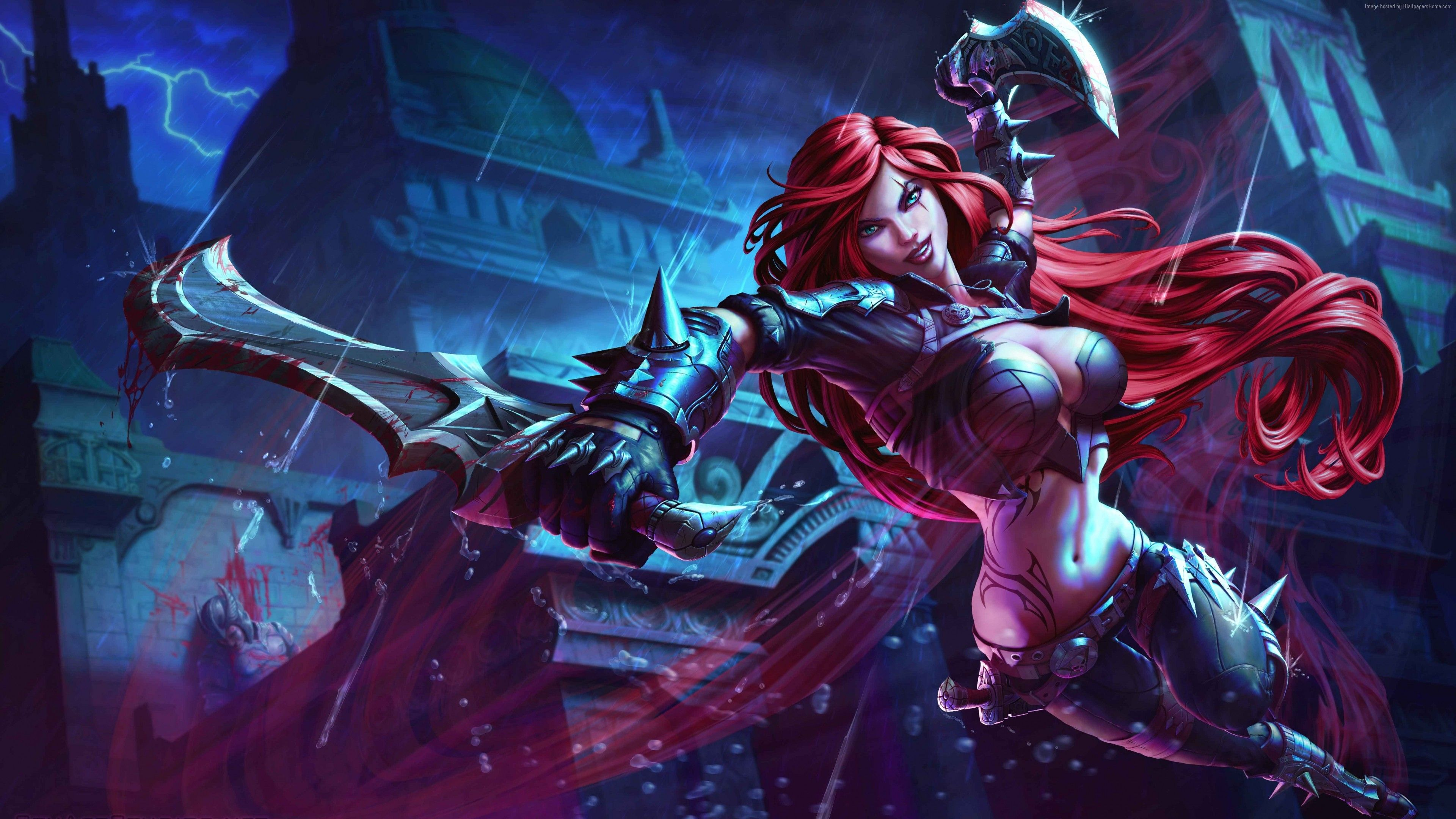League Of Legends Game Lol Moba Katarina Warrior Sword Red
