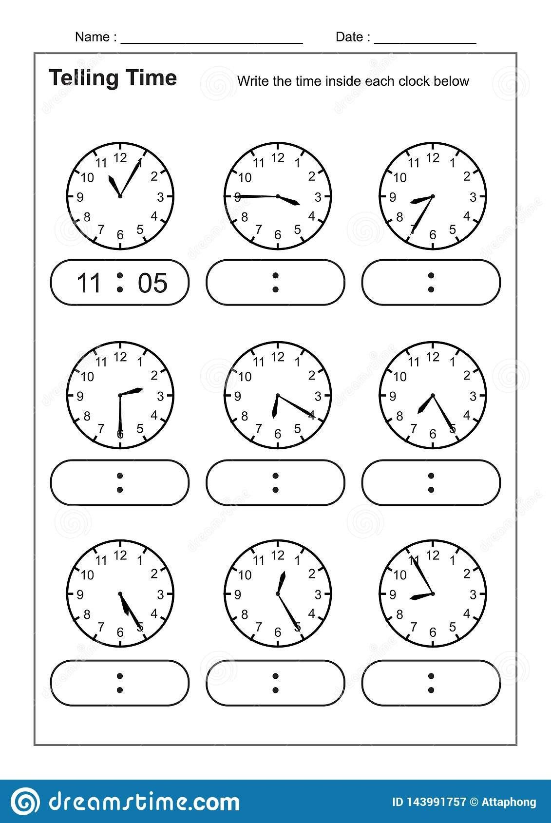 I Worksheet For Kindergarten Telling Time Worksheets