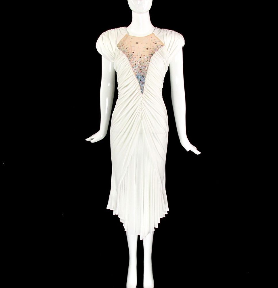 Vintage s couture retro s white party art deco goddess midi