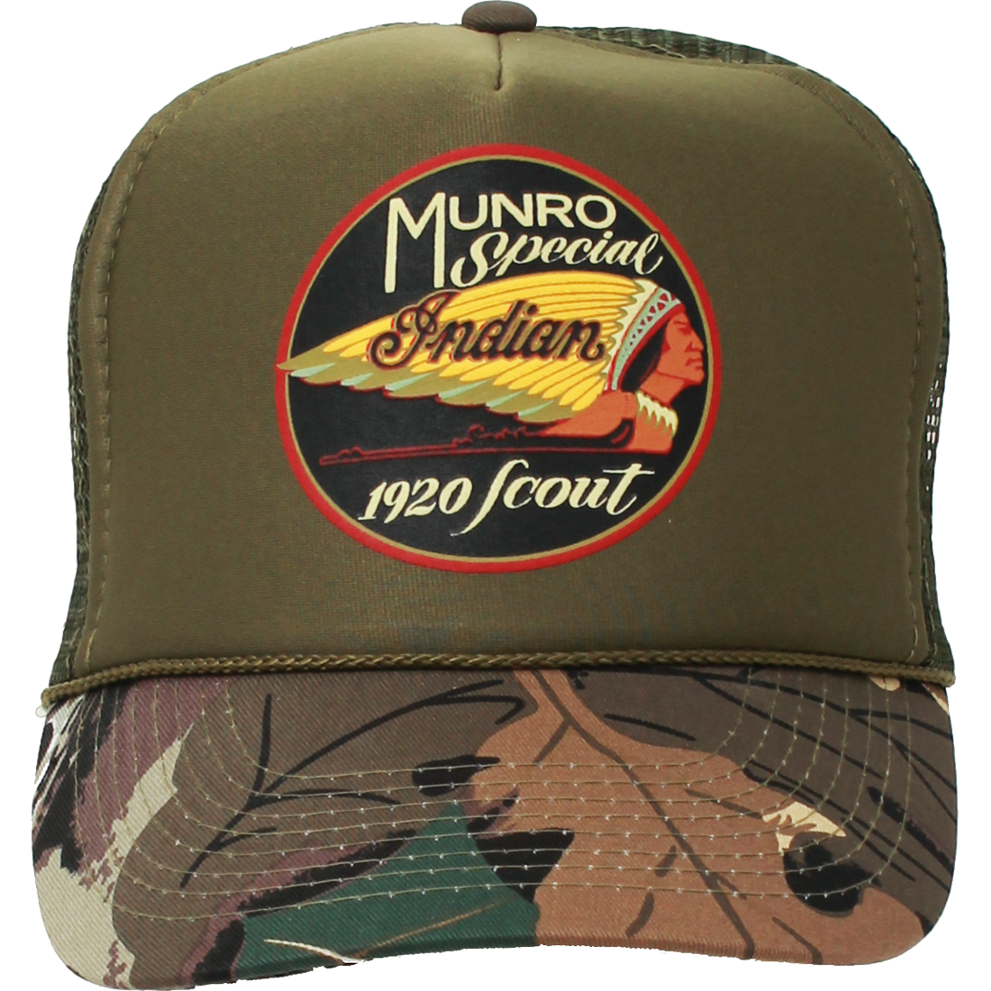 14301578de9 Munro Indian Special Motocycle Snapback Hat on Military Camo Curve Bill.