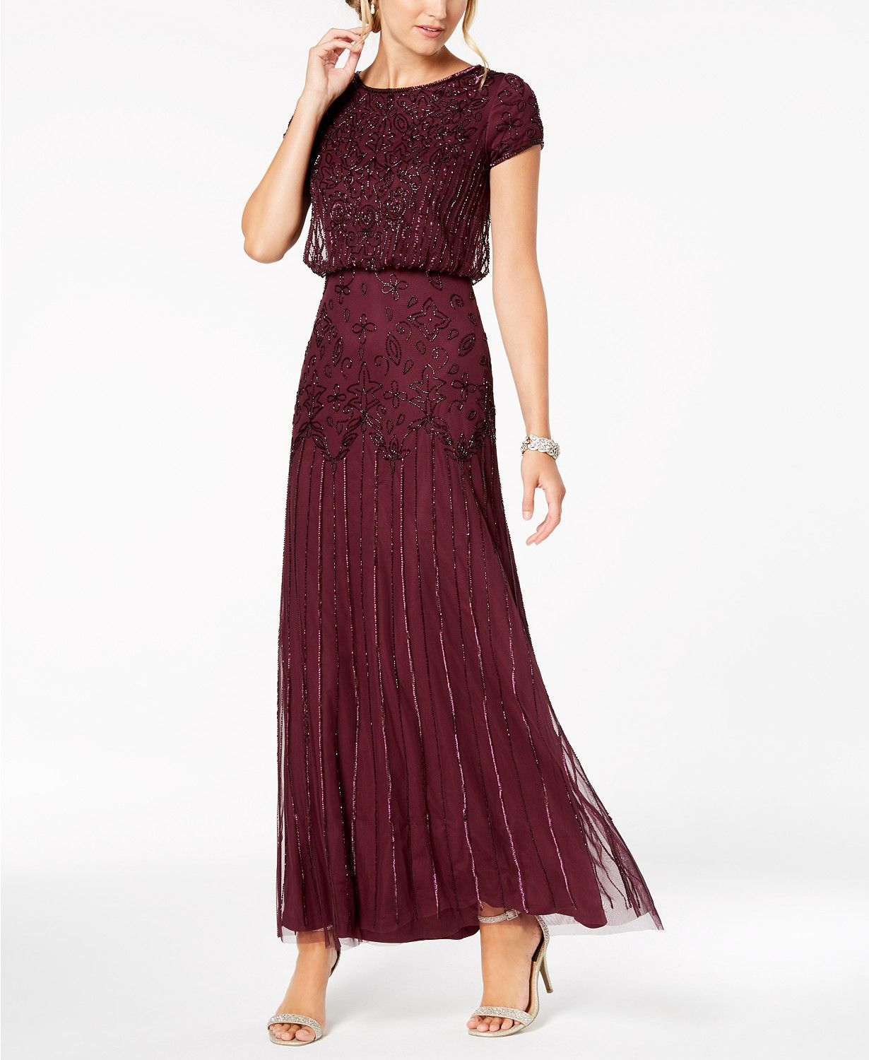 faf1427be85 Adrianna Papell Petite Beaded Blouson Gown - Dresses - Petites - Macy s