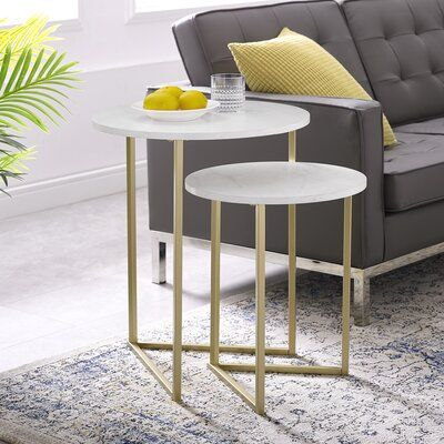 Ivy Bronx Feickert 2 Piece Nesting Tables Table Base Color Gold Table Top Color White Marble Nesting Tables Nesting End Tables End Table Sets