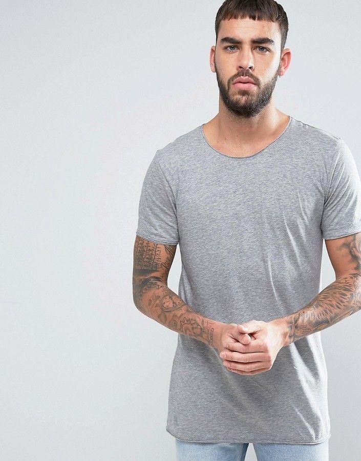 a2bb3963ec23 HUGO by Hugo Boss Depus T-Shirt Longline Raw Edge Slim Fit in Gray ...