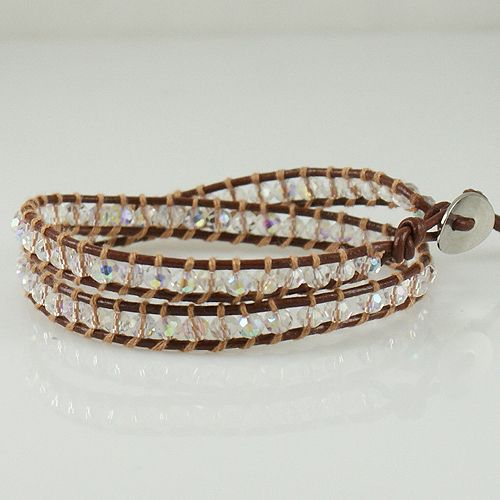 New Handmade Brown Double Wrap Bracelet with real Leather and White Swarovski stones. Starting at $9
