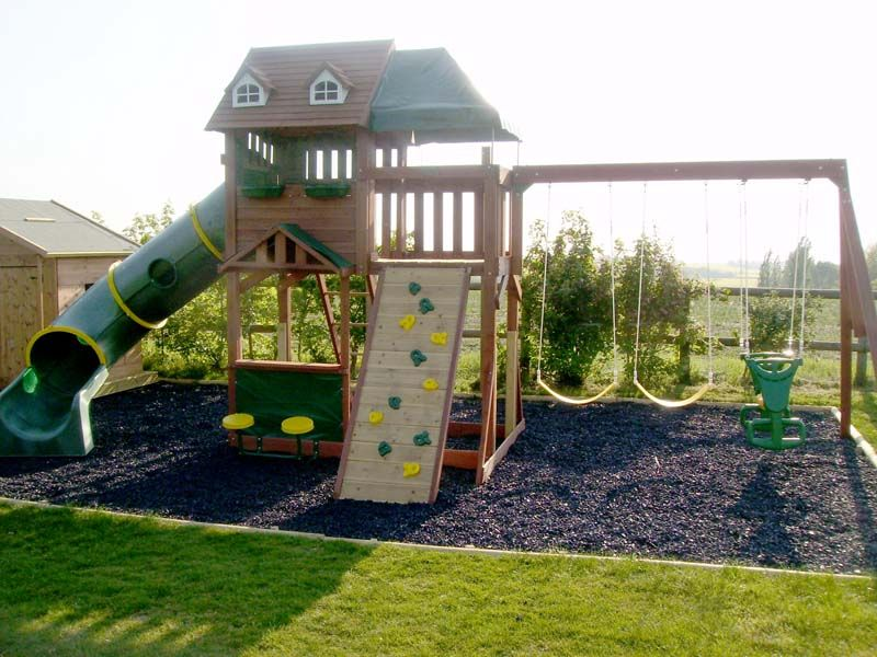 the project was to build a childrens play area and play house making use of rubber