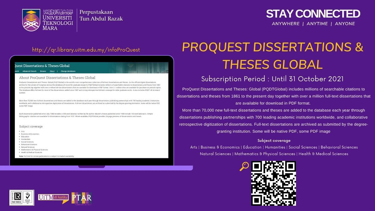 Discover Our Eresource Proquest Dissertation And These Global Perpustakaan Uitm Teaching Division Thesis Database