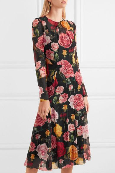 Floral-print Silk-blend Georgette Midi Dress - Black Dolce & Gabbana 7iQuw