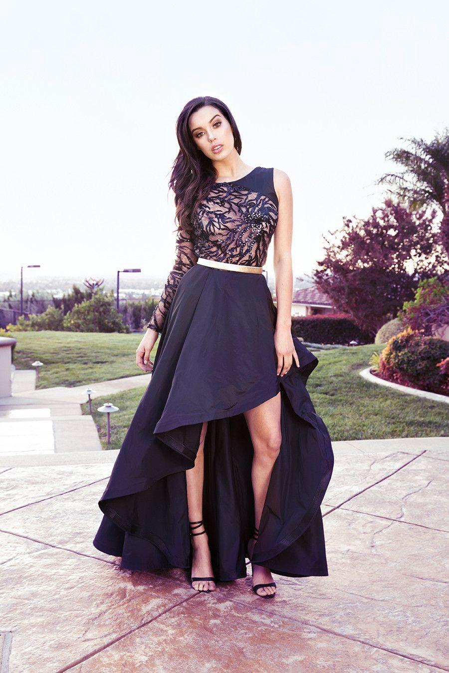 Nicole Bakti Thea Sequin Mesh with High Lo Flow Dress