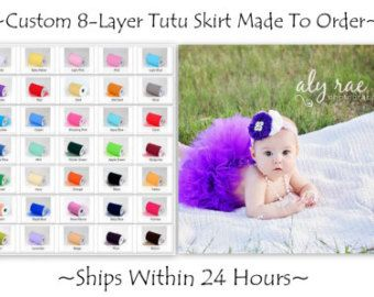 Elegant Boutique Tutu Skirt For Baby Girl, Custom Made By Hand, Choose Any Color Or Size, Fluffy 8-Layers For A Full Look, Newborn Toddler