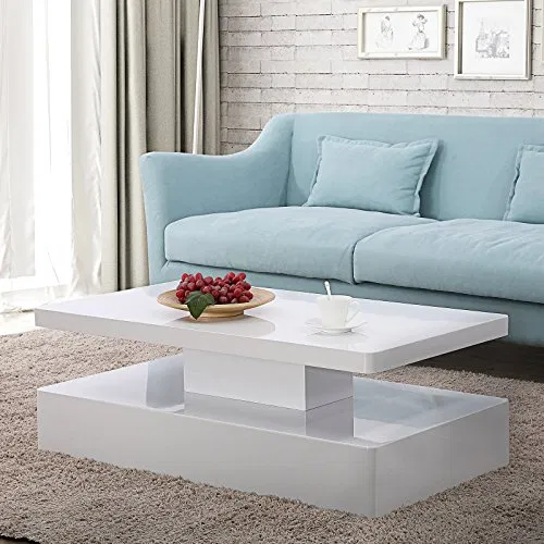 Mecor Modern Glossy White Coffee Table W/LED Light
