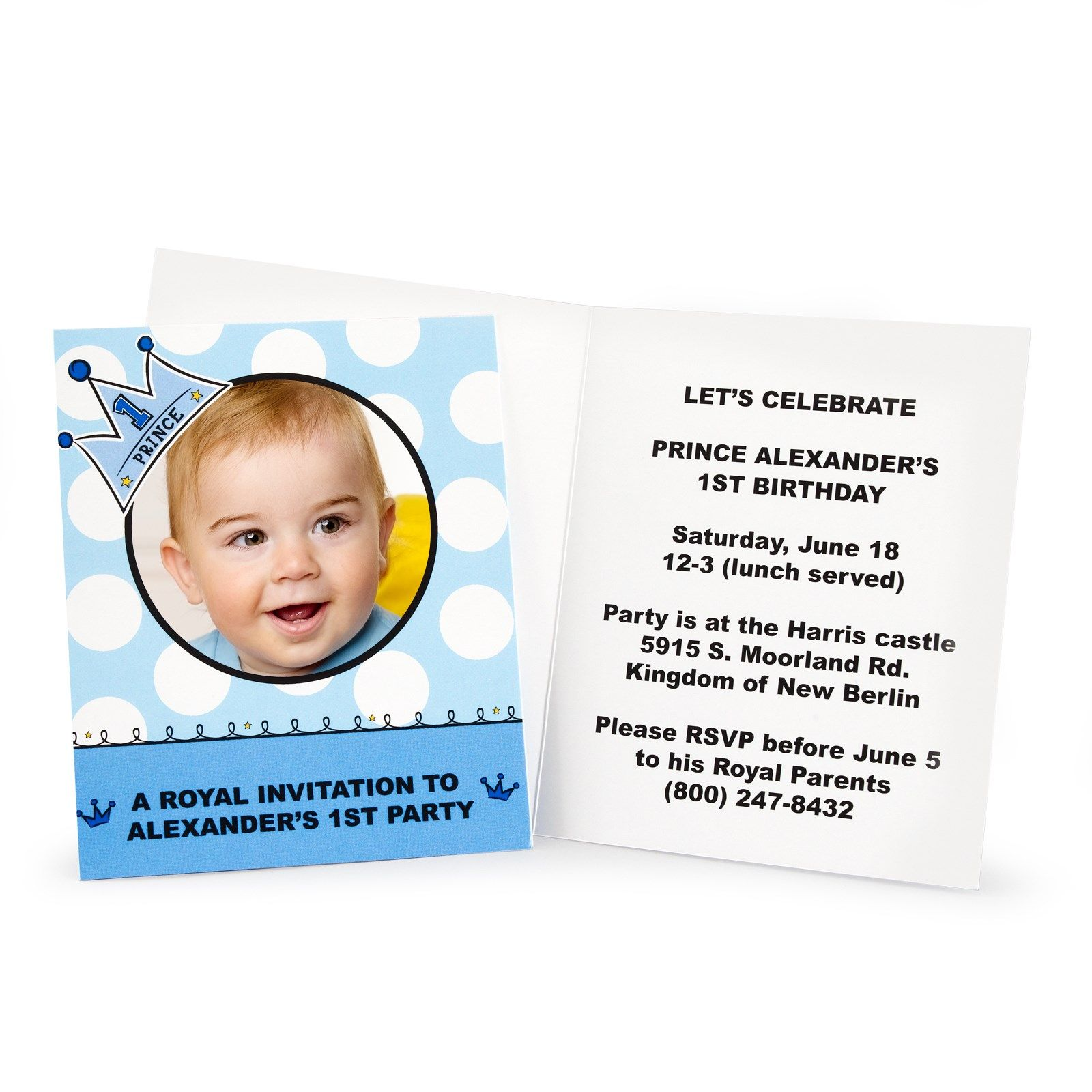 Lil Prince 1st Birthday Personalized Invitations | Party stores and ...