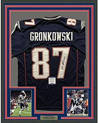47f243707 Framed Autographed Signed Rob Gronkowski 33x42 New England Patriots Blue  Football Jersey Beckett BAS COA at Amazon s Sports  Collectibles  patriots   mancave ...