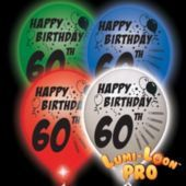 60th Birthday White Balloons Assorted Lights - 10 Pack