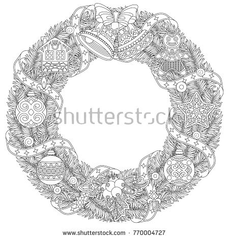 Christmas Door Wreath Coloring Page With Holiday Ornaments And