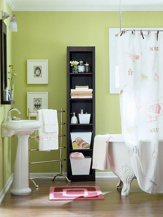 For My Small Bathroom   Love The Standing Towel Rack. Love The Skinny Shelf  With Baskets And The Mirror With Added Shelf.