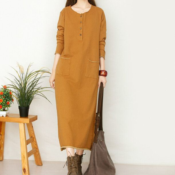 temperament Retro knit cotton o-neck long sleeve denim mori girl loose long dress mori girl 2016 autumn