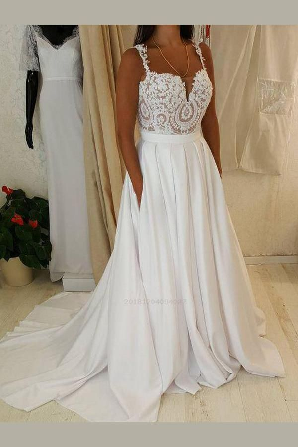 Outlet Outstanding Cheap Wedding Dress A Line Wedding Dress Lace Wedding Dress A Line Wedding Dres Wedding Dresses Lace Lace Top Wedding A Line Wedding Dress
