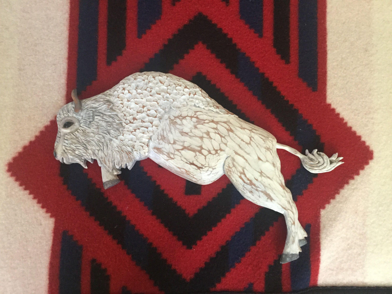 Sacred White Buffalo Wood Carving