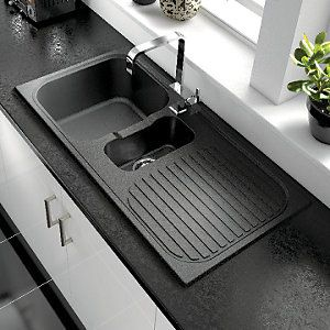 Wickes Rok Metallic 1 1 2 Bowl Kitchen Sink Black 99