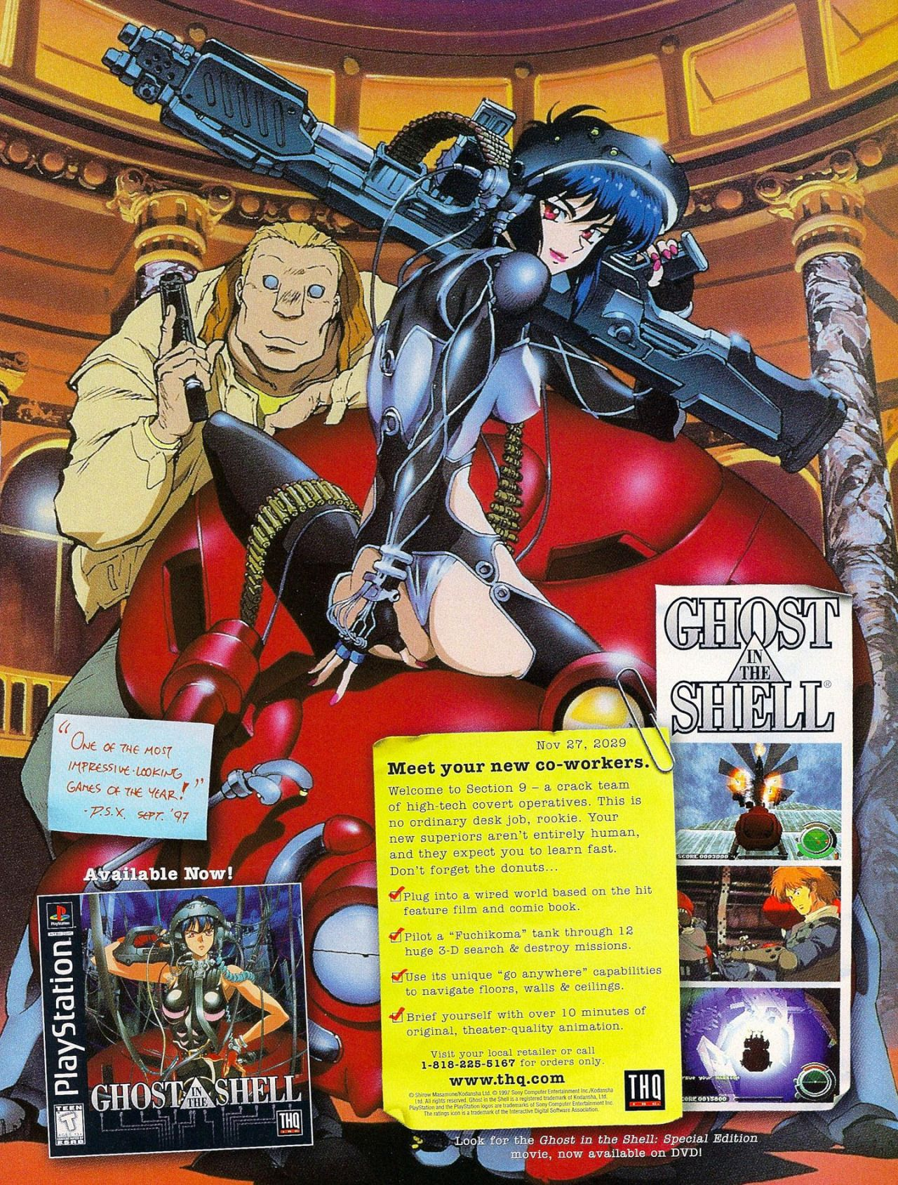 Vgprintads Ghost In The Shell Ps1 Gamepro November 1997 100 Via Retromags Special Mentions Go To The O Ghost In The Shell Ghost Old Anime