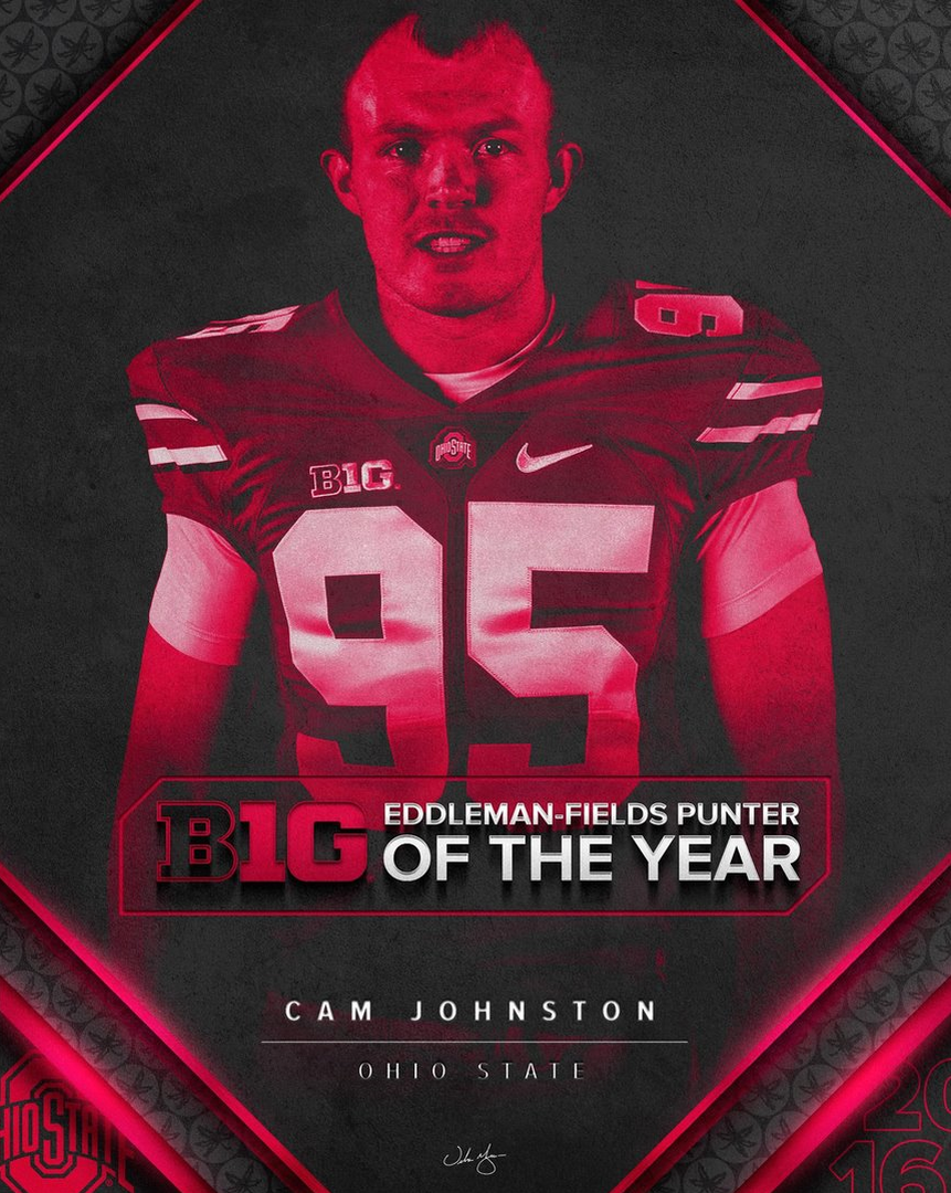 Cameron Johnston Ohio State Buckeyes Football Jersey - Red