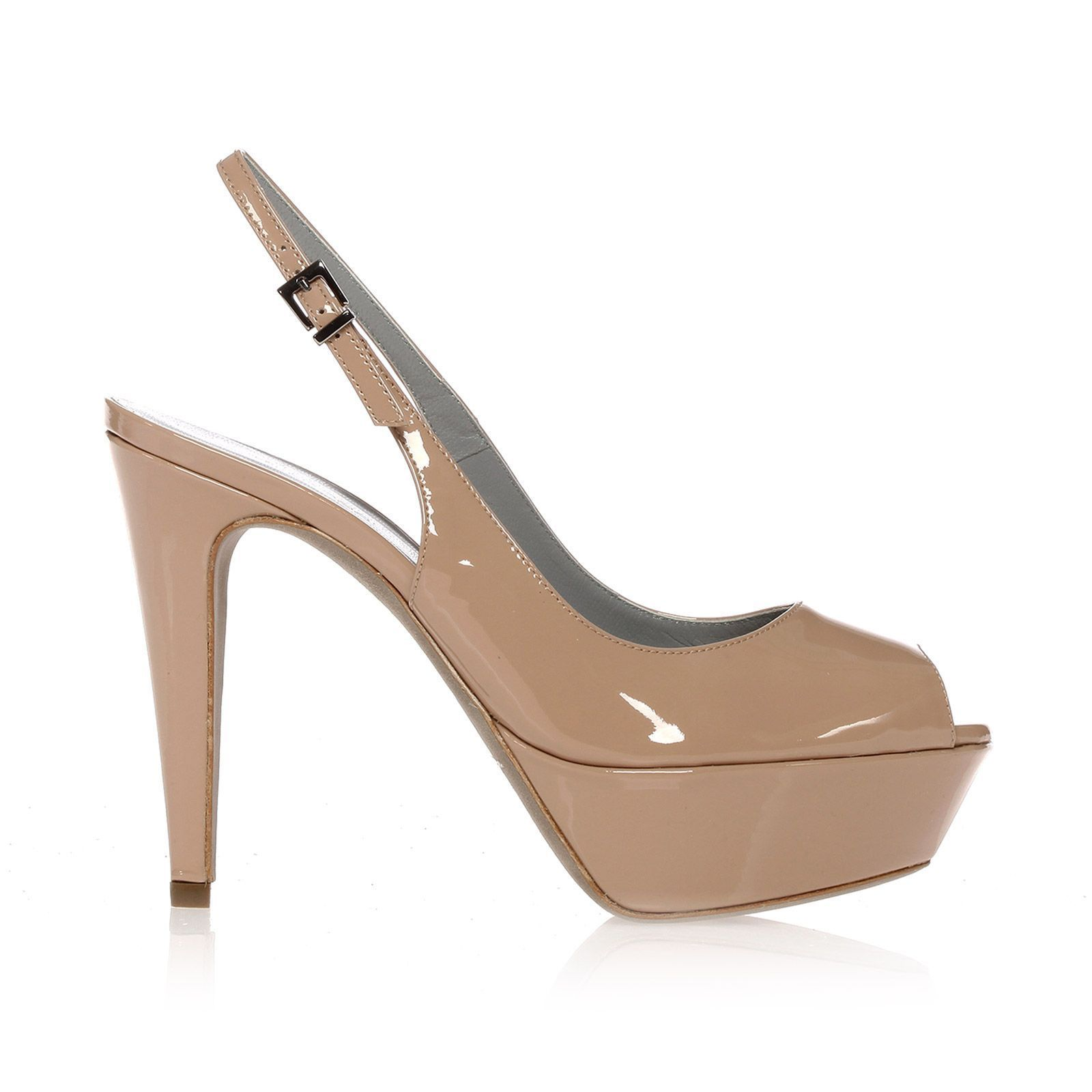 2e1c83e740efab Chaussures plateforme en cuir verni beige rosé - Sergio Rossi ...