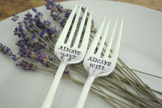 For the Cake Lover in Your Life New Flatware I Cake ~ Hand Stamped Fork Unique Gift hearts