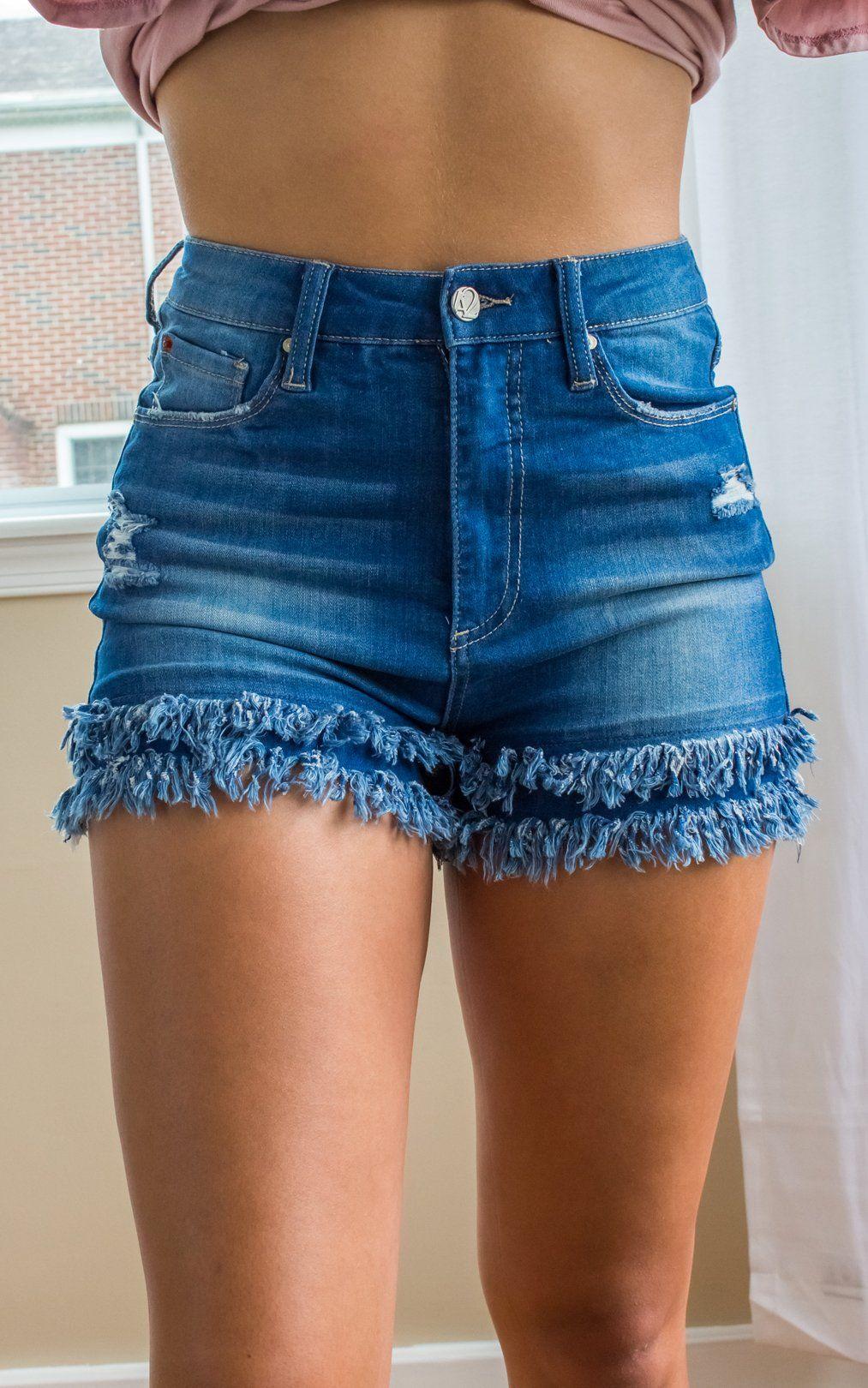 866a0b609733 Double Vision Fringe Shorts (Medium Wash) en 2019 | pantalon | Ropa ...