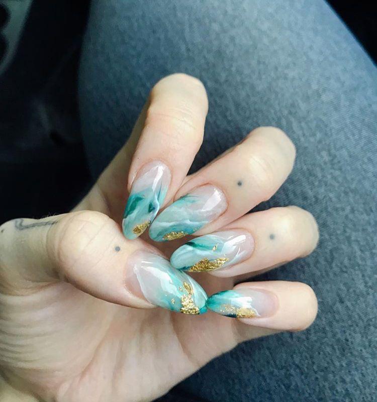 Colorful Nails Green Nails Lines On Nails Marble Nails