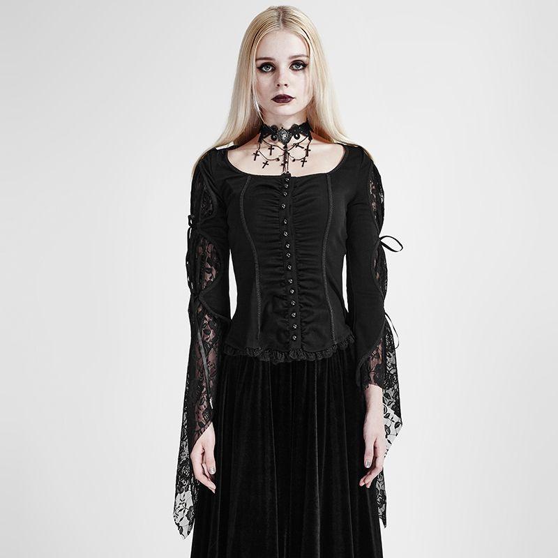 PUNK RAVE Viktorianische Bluse Gothic Bluse Spitzenbluse Victorian Blouse Top