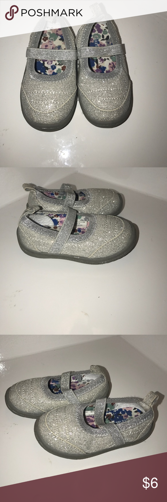 Silver shoes Gray with silver sparkles.  Size 4 kids. Great for the summer to wear at a park. Good playing shoes. Shoes Sneakers