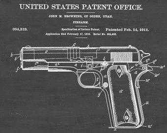 Colt 1911 Semi-Automatic Pistol Patent Poster Colt by PatentPrints