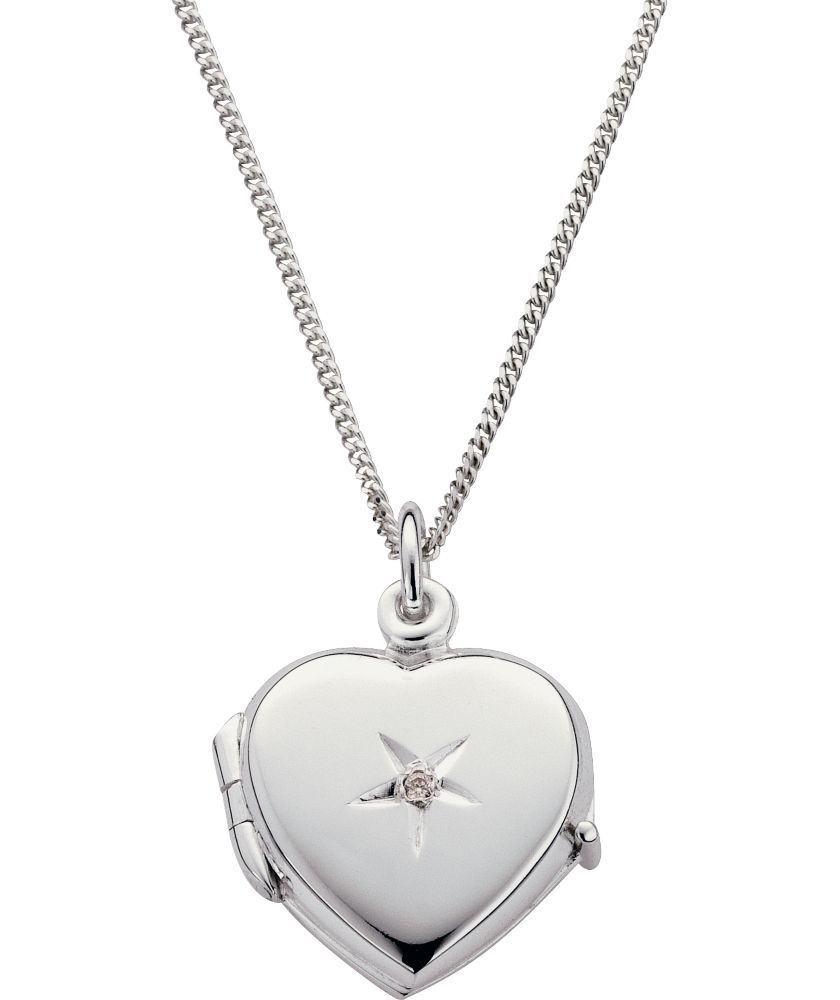Buy Sterling Silver Diamond Heart Locket Pendant at Argos.co.uk - Your Online Shop for Ladies' necklaces.