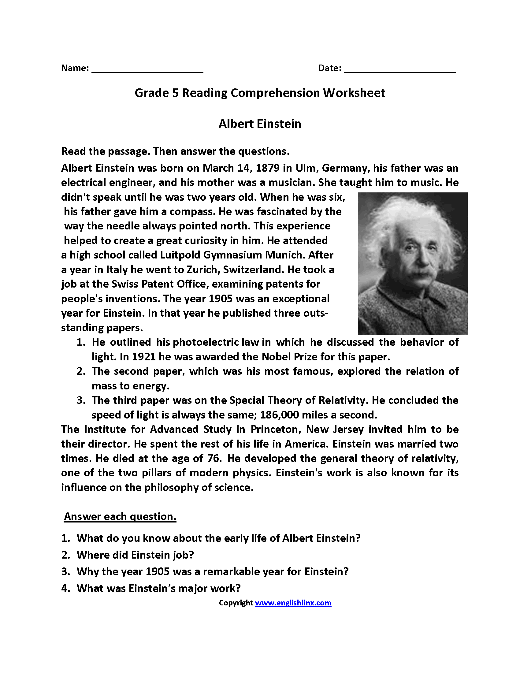 Albert Einstein Fifth Grade Reading Worksheets With