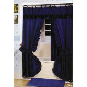 Double Swag Shower Curtain Liner Rings Navy Blue Double