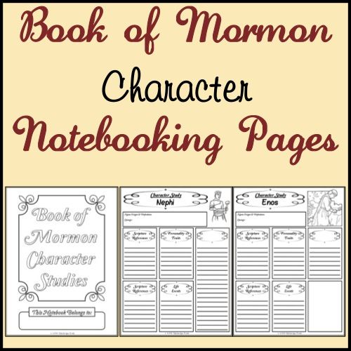 Free Book Of Mormon Character Study Notebooking Pages Scripture