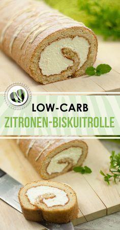 Zitronen-Biskuitrolle | backen | Low Carb Recipes, Low ...